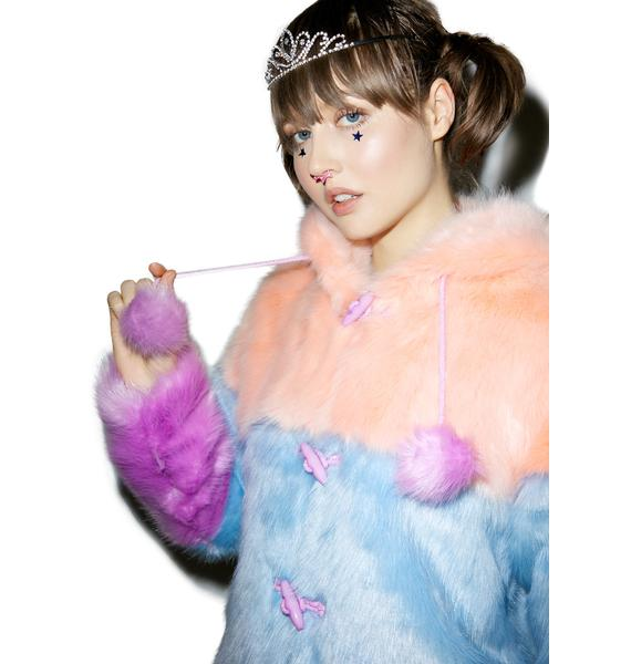 Lazy Oaf Pastel Faux Fur Coat
