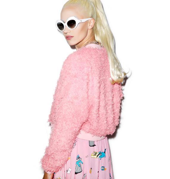 Lazy Oaf Fluffy Pink Bomber Jacket