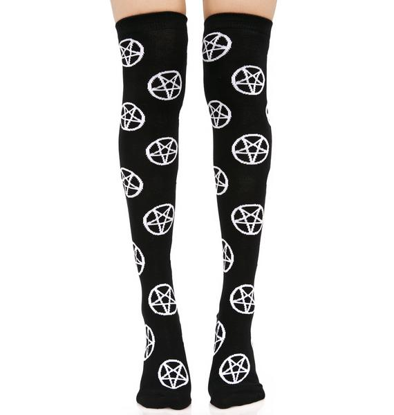 Killstar Pentagram Over The Knee Socks