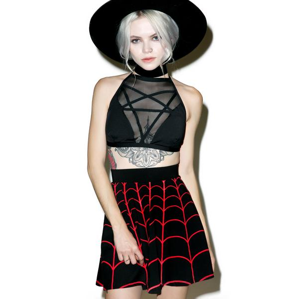 Kreepsville 666 Web Red Skater Skirt