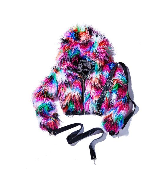 Current Mood Dark Galaxies Faux Fur Jacket
