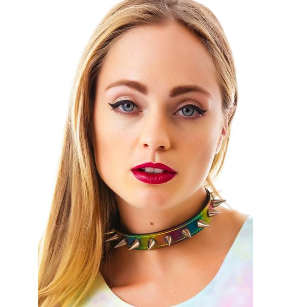 Club Exx Rainbow All Spiked Up Choker