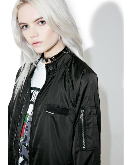 Washed Satin Boyfriend Jacket