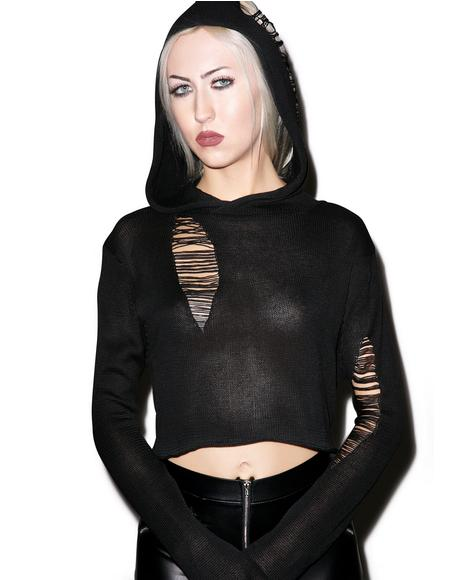 Crop Extra Long Sleeved Pullover Hoodie