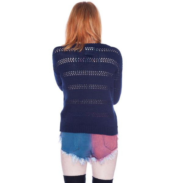 One Teaspoon Stow Away Crew Neck Knit Top