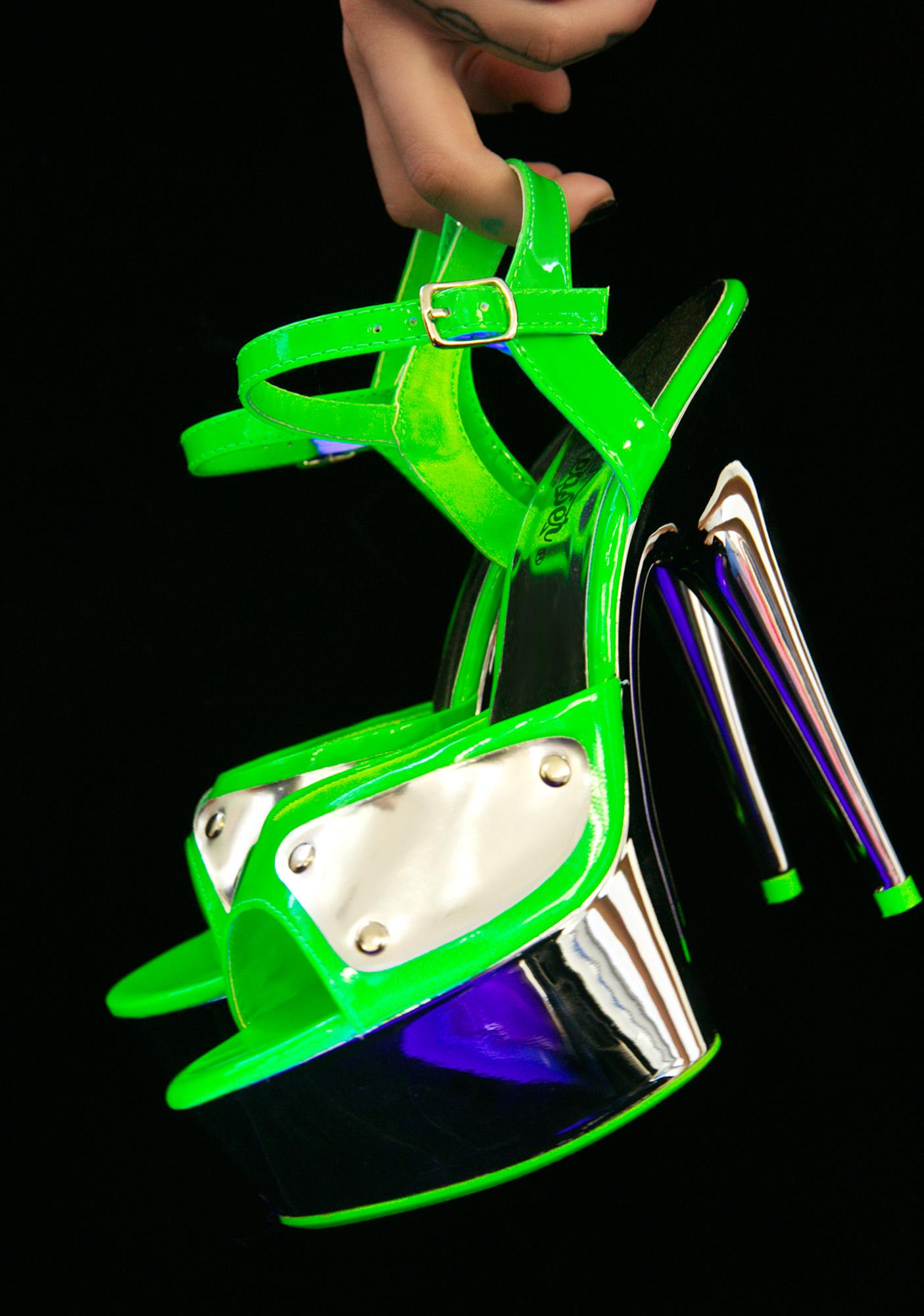 Pleaser Highlights Glow In The Dark Platform Heels