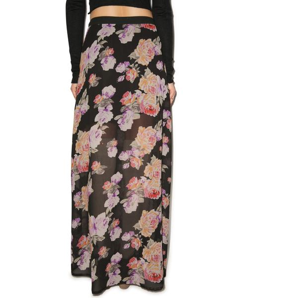 Mink Pink Light Floral Breeze Maxi Skirt