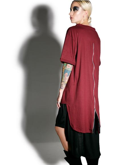 Crimson Weaponized Zipper Back Tee