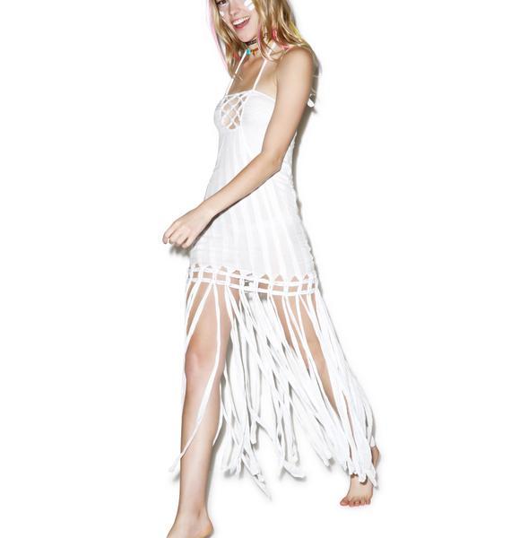Indah Takala Macrame Fringe Dress