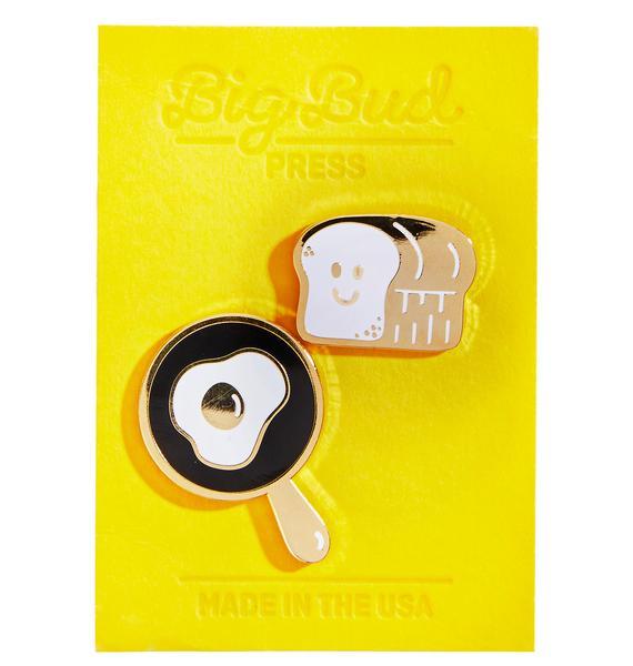 Big Bud Press Eggs And Toast Pin Set