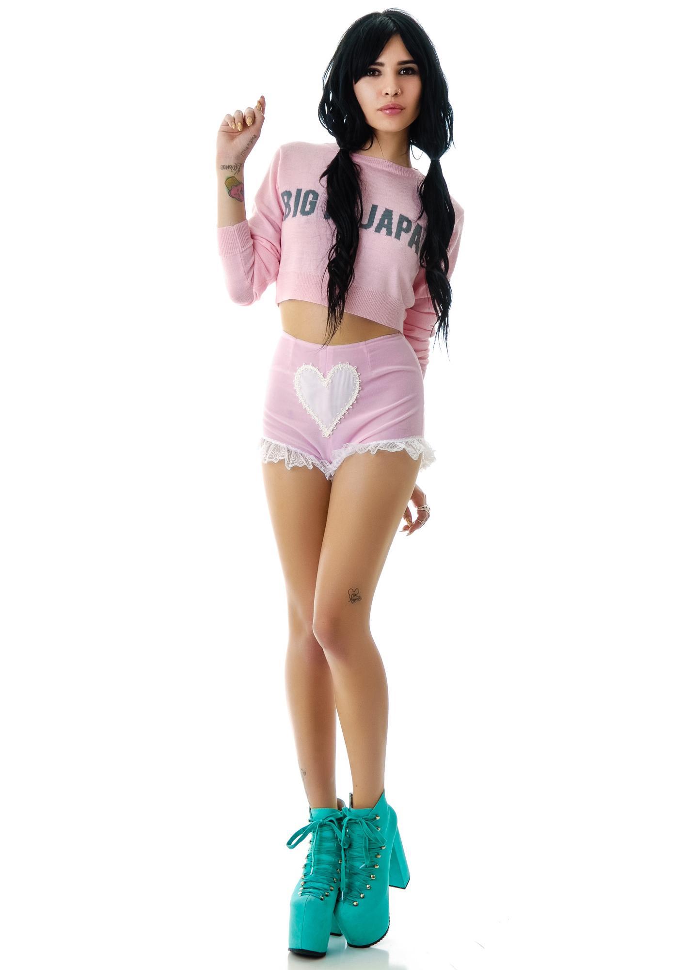 Sweet Heart Velvet Lace Trim Shorts