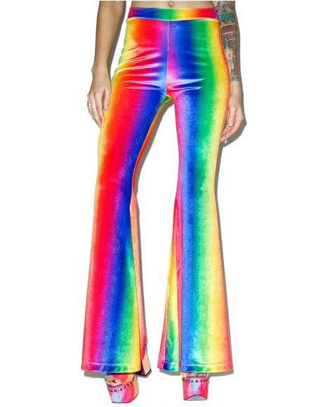 Rainbow Velvet Bell Bottoms