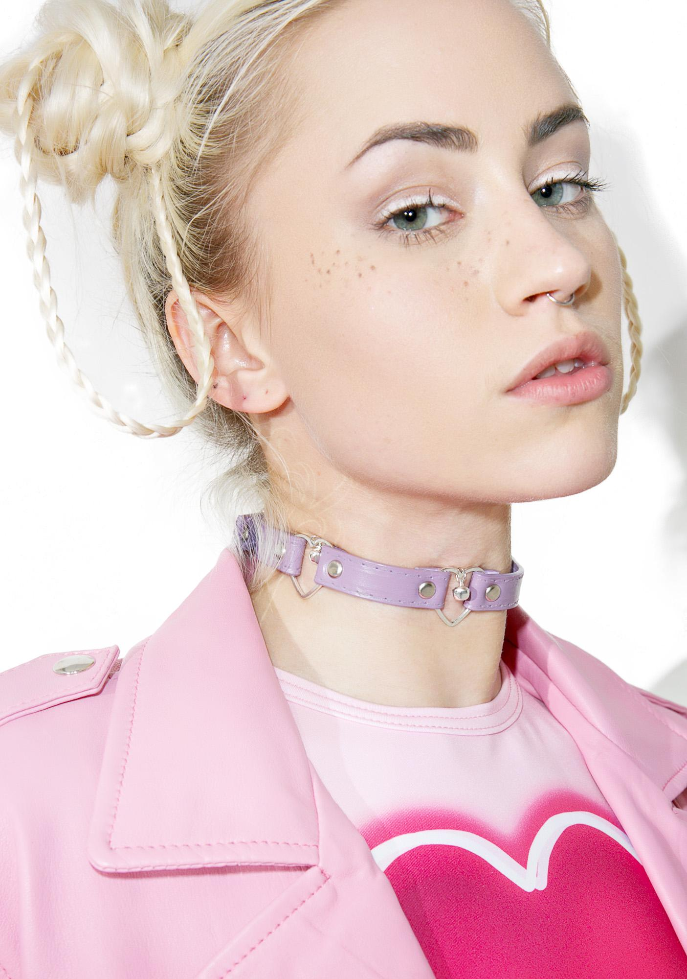 NecroLeather Triple Heart Choker