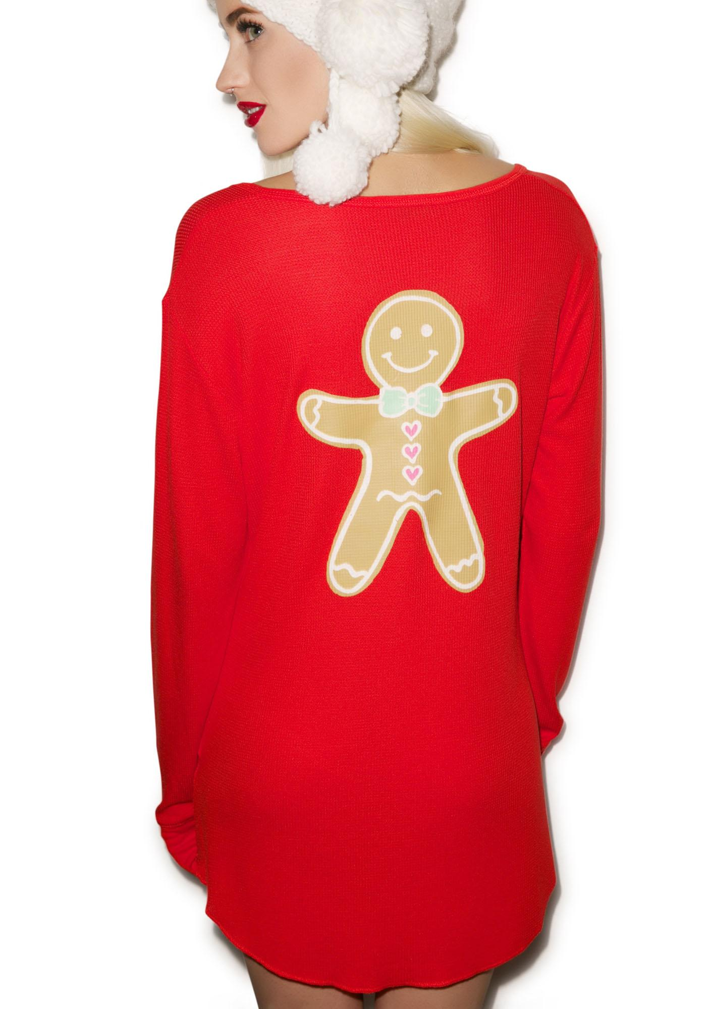 Wildfox Couture Gingerbread Man Snowed In Pajama Sleepshirt