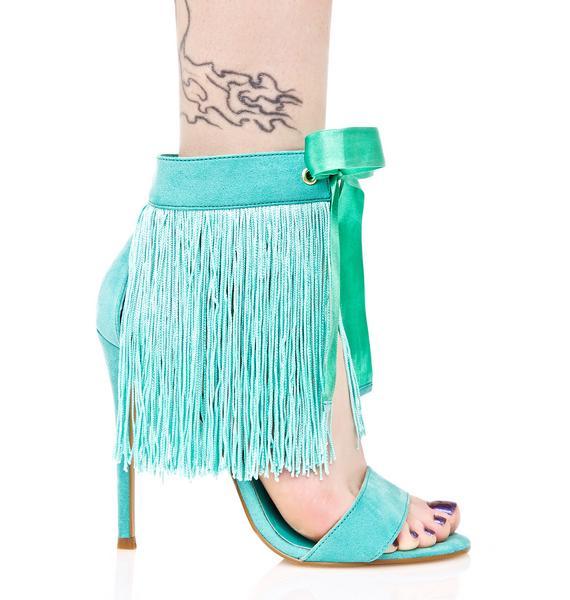 Privileged Mint Francine Fringed Heels