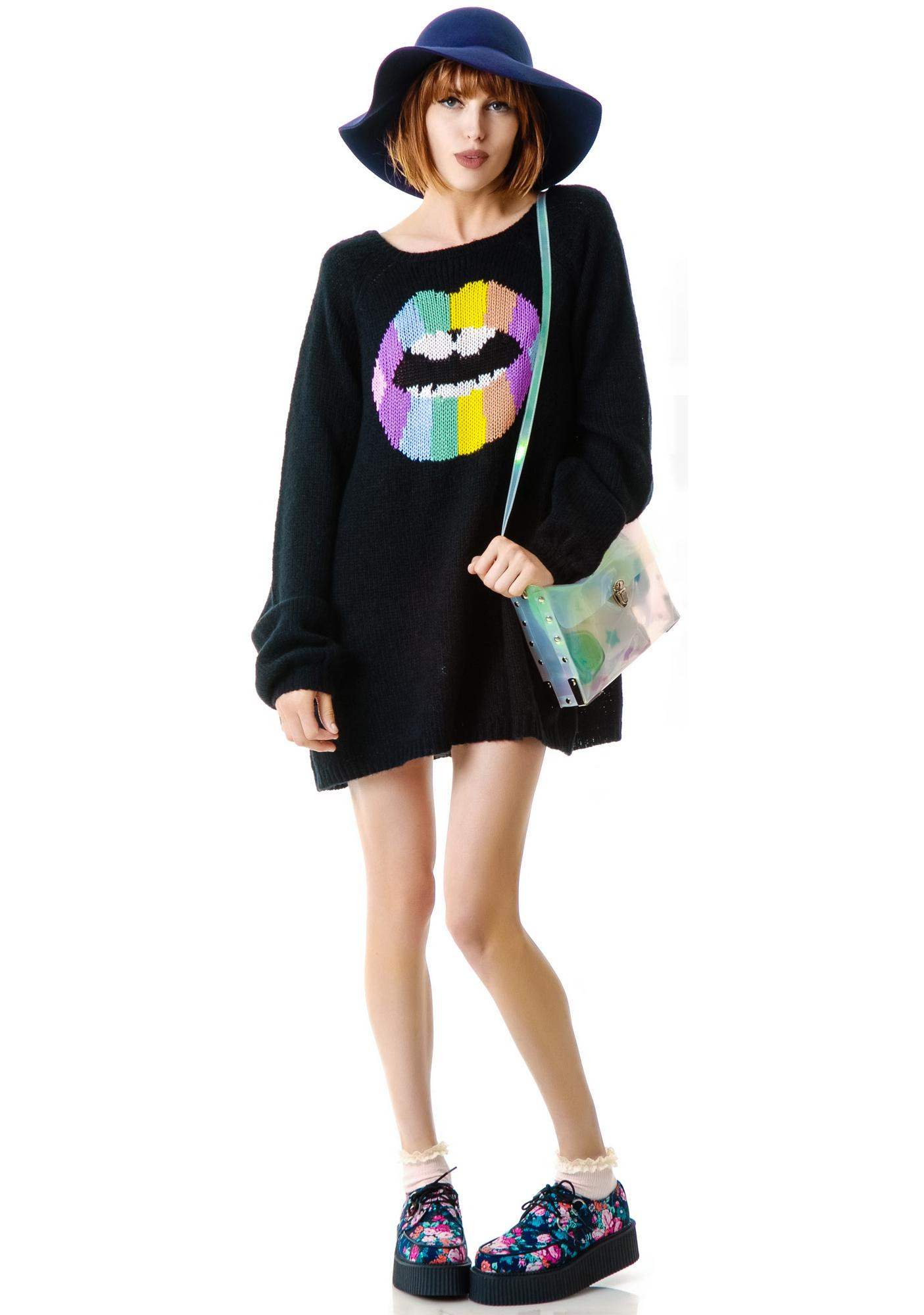 Wildfox Couture Psychodelic Lips CA Dream Sweater