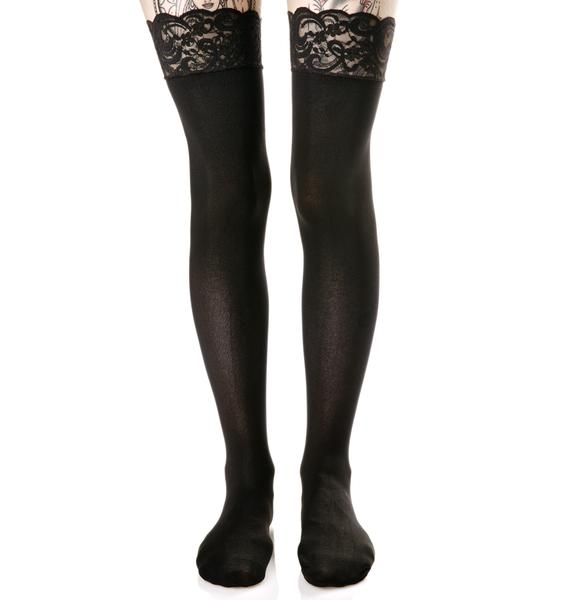 Boudoir Lace-Up Thigh Highs