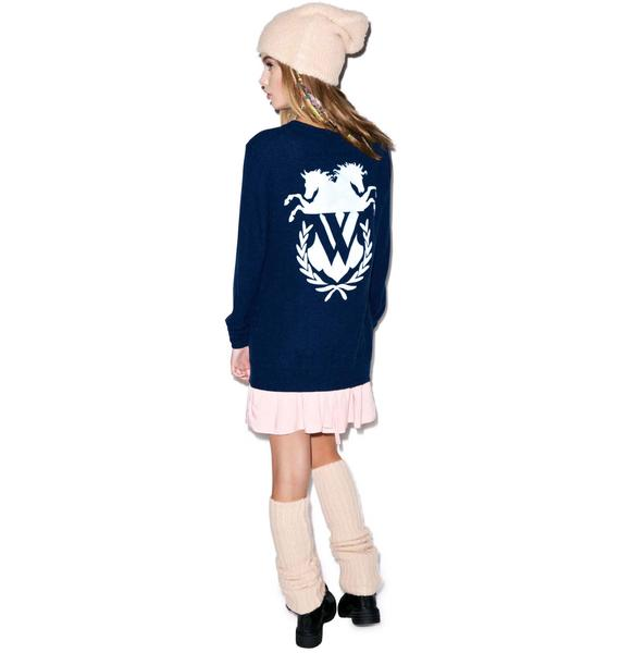 Wildfox Couture Old School Logo Oxford Cardigan