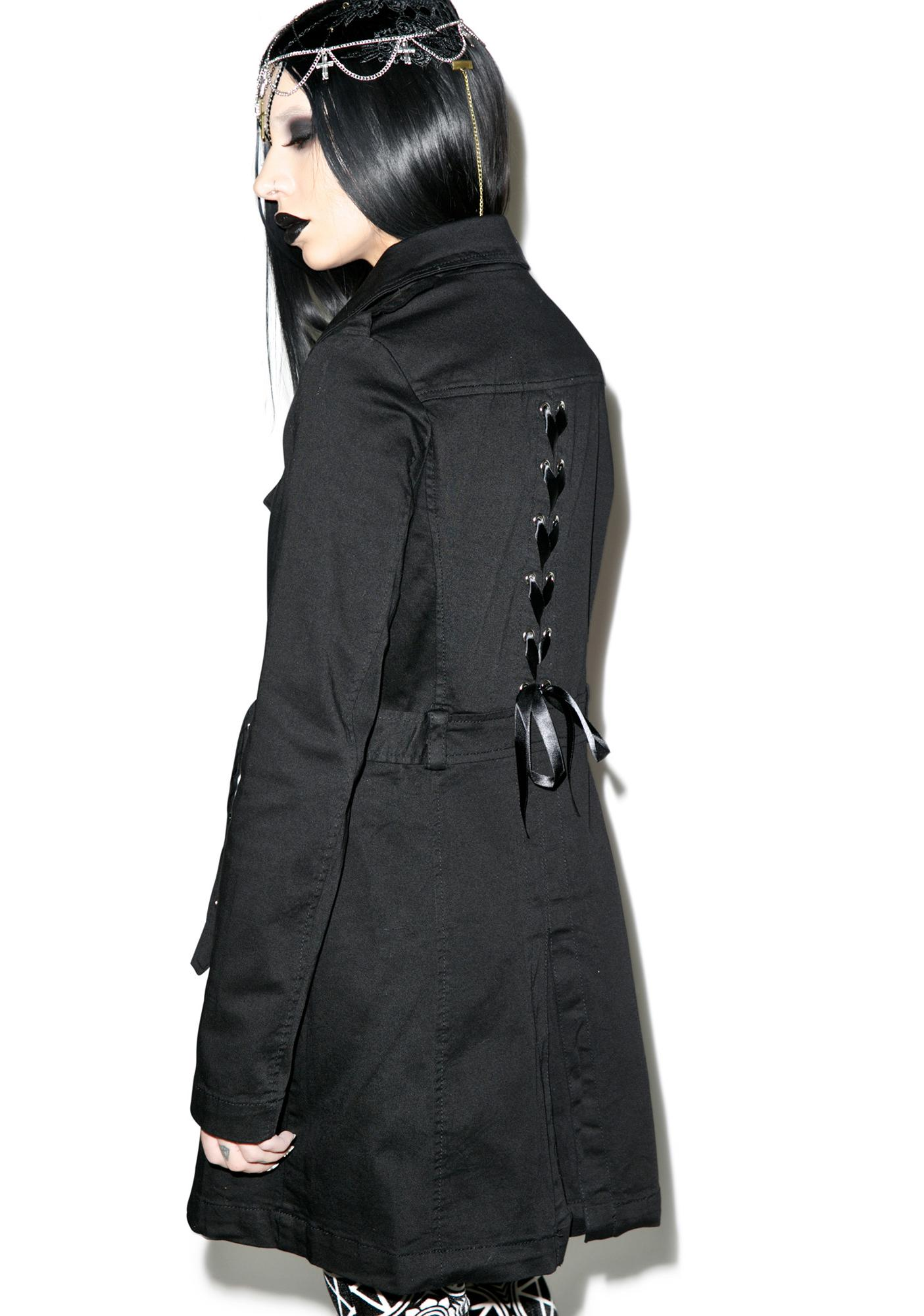 Tripp NYC Lace Back Trench Coat
