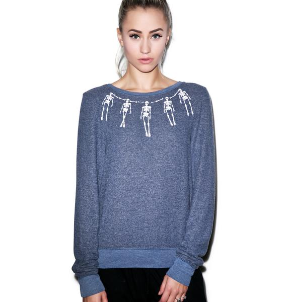 Wildfox Couture Skeleton Necklace Baggy Beach Jumper