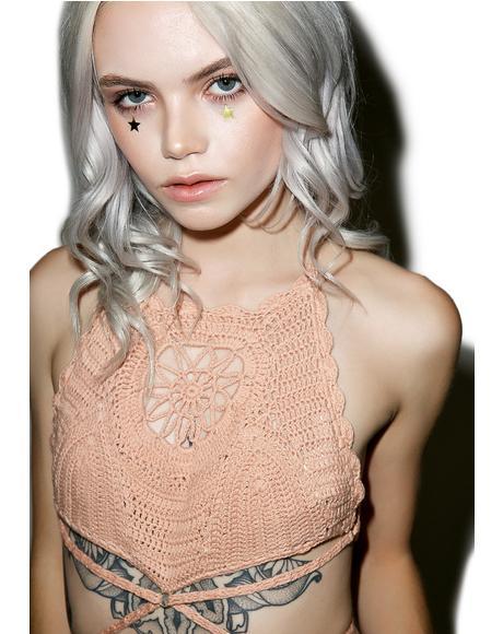 Daphne Crochet High Bikini Top