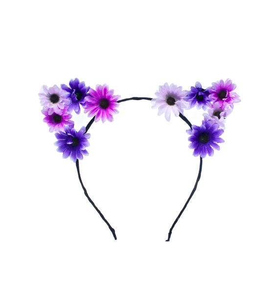 Mi Gente Clothing Purple Floral Kitty Ears