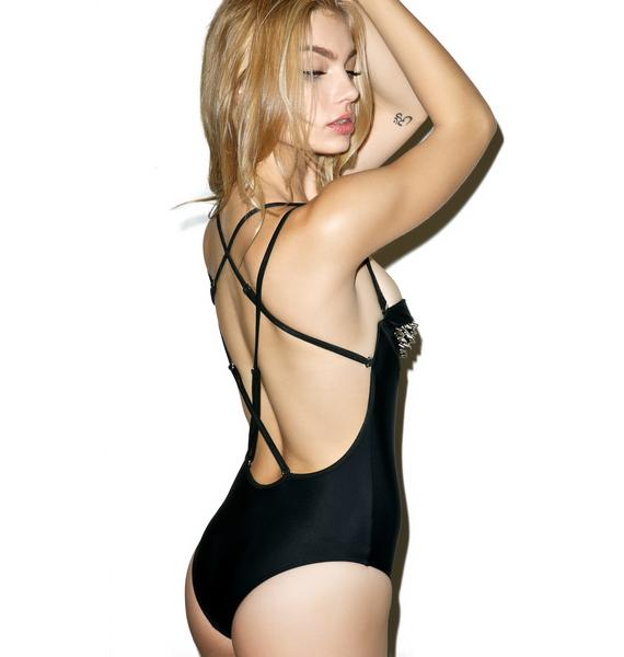 Current Mood Brinkley Studded Zip Swimsuit