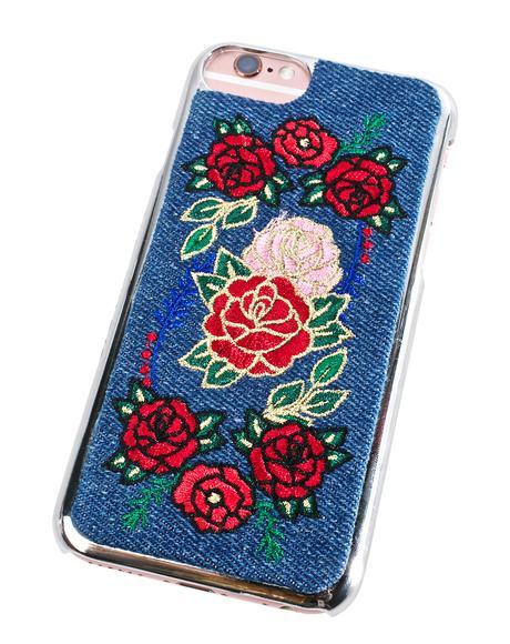 Denim Floral iPhone Case