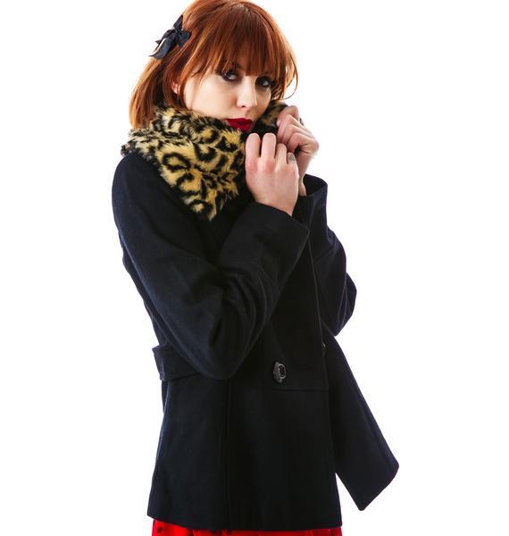 Ferosh Leopard Fur Collared Jacket