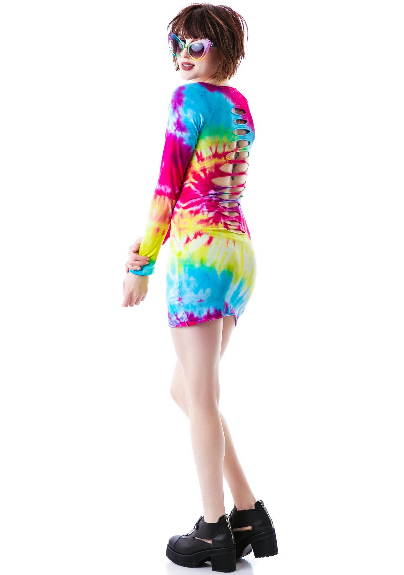 The Ragged Priest The  Bait Long Sleeve Shredded Dress
