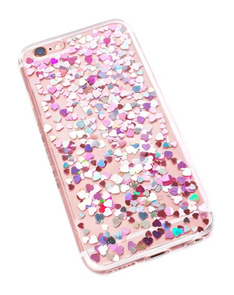 Heart Sequin Jelly iPhone Case