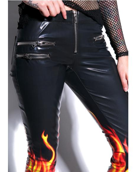 X Dolls Kill Flamin' Hot Moto Pants