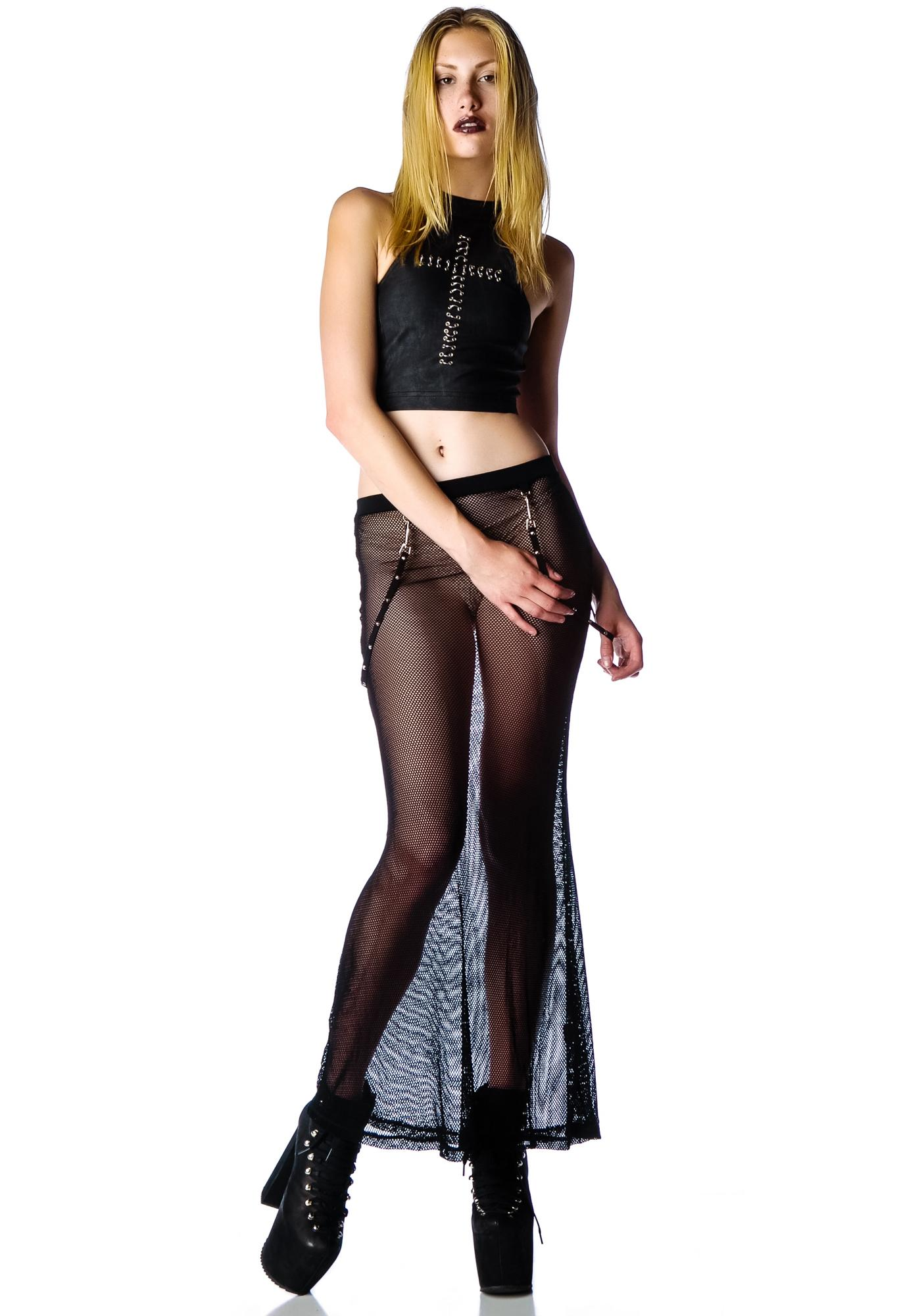 Tangled Web Mesh Maxi Skirt