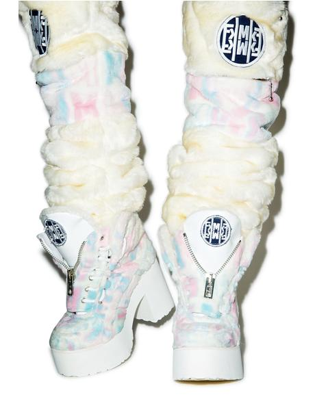 X Buffalo Platform Cotton Candy Fur Boots