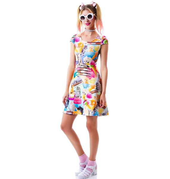 Japan L.A. Kittens and Ice Cream Cap Sleeve Dress