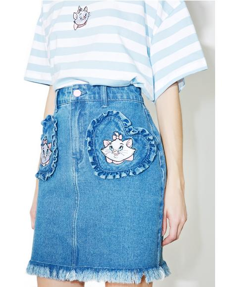 X Disney Aristocats Denim Skirt