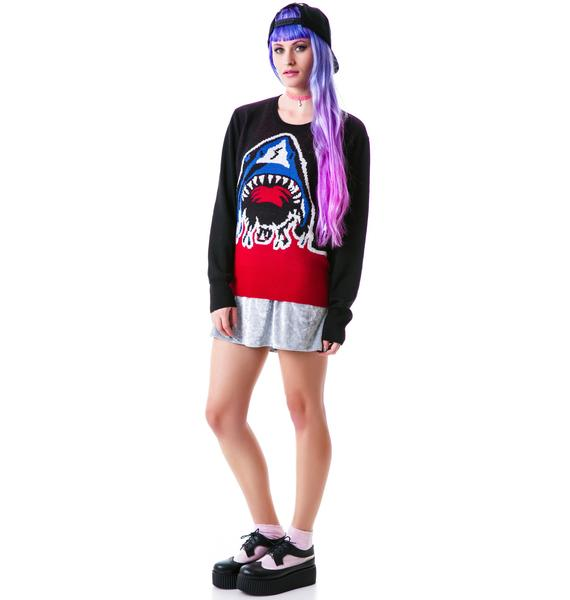 Halfman Romantics Shark Attack Crew Knit Sweater