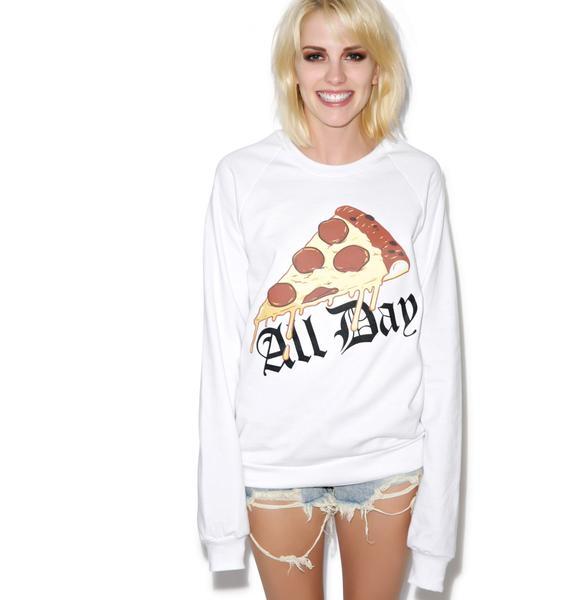 MeYouVersusLife Pizza All Day Crewneck Sweatshirt