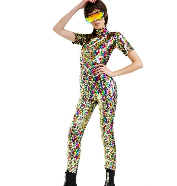 Jaded London Rainbow Sequin Jumpsuit