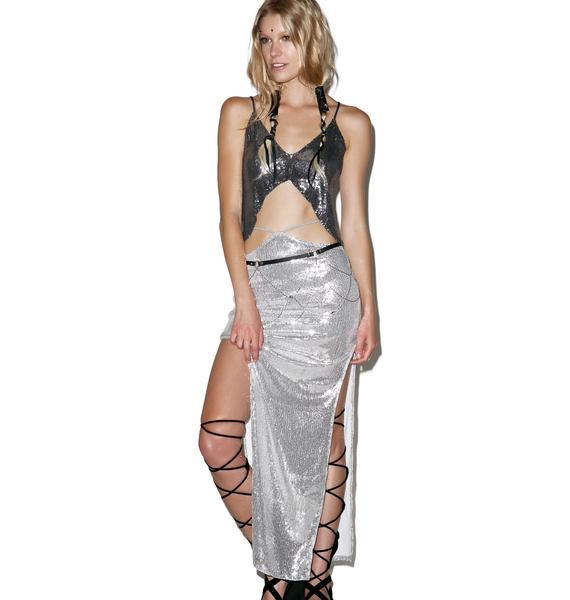 Indah Sequined Gigi High Slit Conbvertible Maxi Skirt