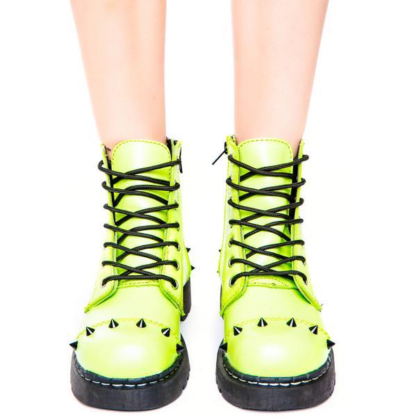 T.U.K. Neon Green Spike 7 Eye Boot