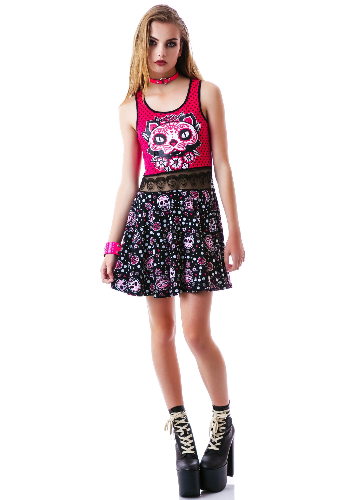 Too Fast Muerta Cat Bambi Dress