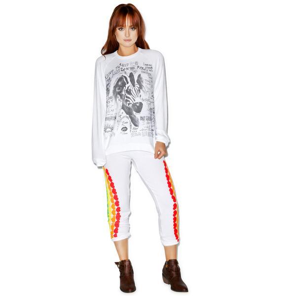 Lauren Moshi Lovie Wild Zebra Boyfriend Sweater