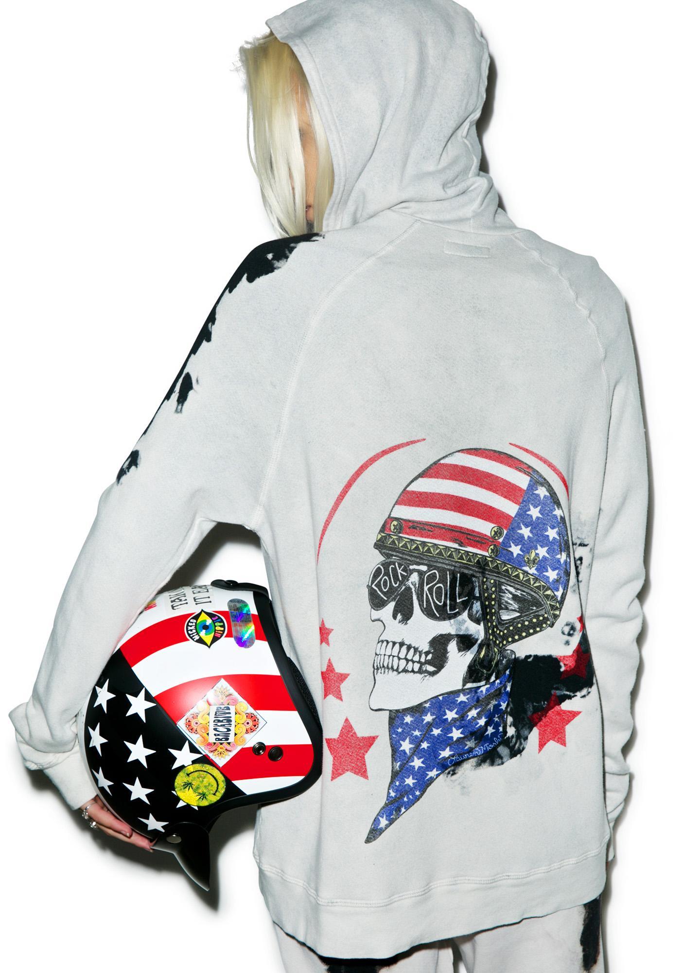 Lauren Moshi Skull Helmet Zip-Up Hoodie