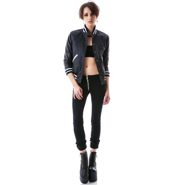 Zoe Karssen T-Bird Leather Sleeved Bomber Jacket