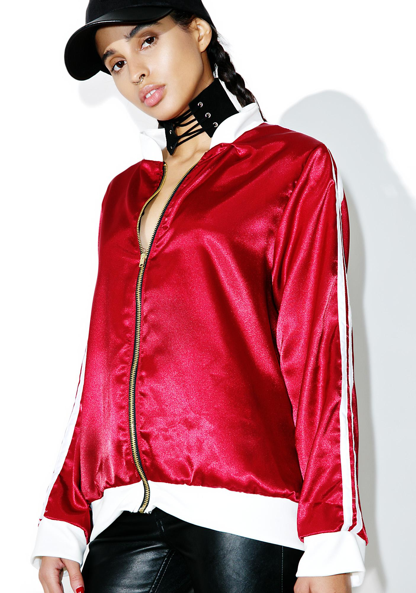 O Mighty Maroon Silk Kitten Bomber Jacket