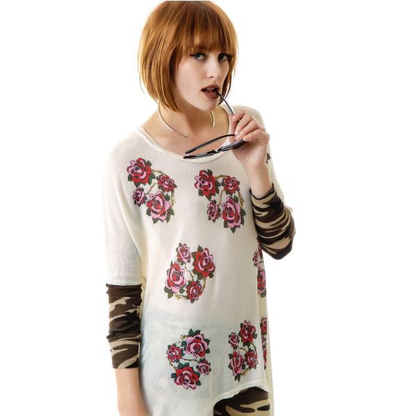 Lauren Moshi Roses Deb Contrast Cuff Sweater