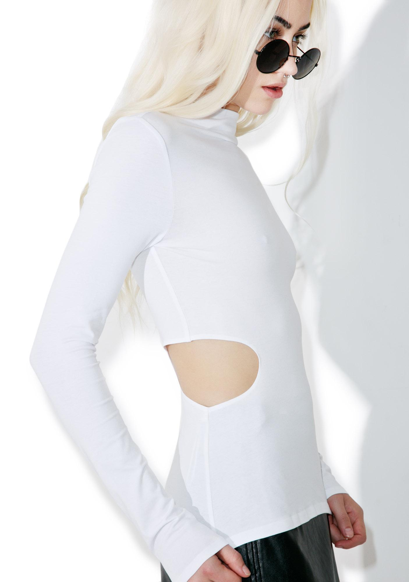 Kendall + Kylie Side Cut Out Long Sleeve Tee