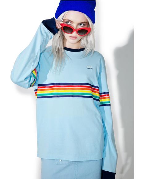 x X-Girl Blue Multistripe Longsleeve Tee