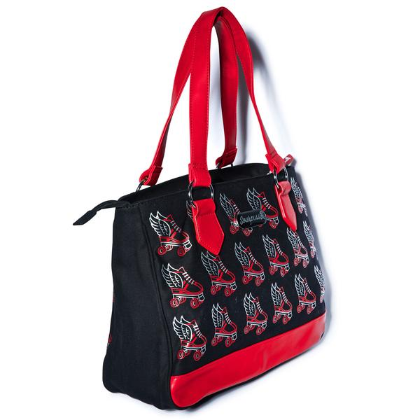 Sourpuss Clothing Flying Rollerskate Tote Bag